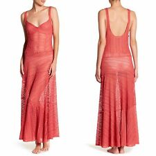 Free People Love Story Maxi Slip Dress Sheer Lace Sleeveless Rose Pink sz S