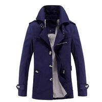 Fashion Winter Mens Trench Coat Slim Casual Jacket Peacoat Long Overcoat Outwear