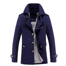 Fashion Men's Trench Coat Autumn Long Jacket Overcoat Outerwear Tops Parka PLUS