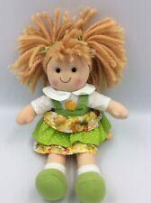 "Kathe Wohlfahrt Germany Plush Rag Doll Red Hair Adorable Sunflower Dress 11"""