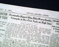 SS NORMANDIE French Ocean Liner Passenger Ship PRE MAIDEN VOYAGE 1935 Newspaper
