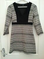 Zara Trafaluc Black/White fitted Tuni Dress Size XS /8 Worn Once