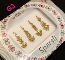 G3- Designer Wedding Gold Bindi Crystal Bridal Long Bindi Pack Tikka Tattoo Art