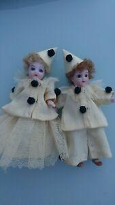 """Two 3 1/2 """" (9 cm) Antique Miniature Mignonette All Bisque Dolls- Clowns. Boxed."""
