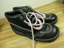 Vintage Kickers Boots Black with pink stitching, size 4.