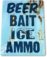Beer Bait Ice Ammo Store Lodge Marina Lake Beach House Rustic Metal Decor Sign