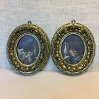 2 Vtg Florentine Small Pictures Gilt Faux Carved Wood Oval Frames Italy