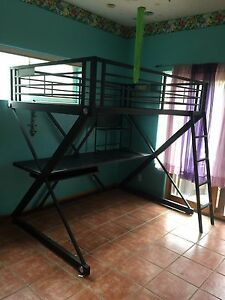 Metal, full size matress bunkbed with worktable. lightly used, great condition.