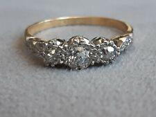 18ct gold diamond 3 stone ring size Q .33 carat hallmarked