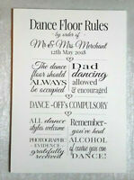 Custom Dance Floor Rules Wooden Sign - Weddings and Parties