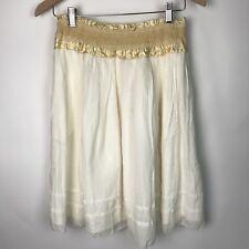Odille Anthropologie Womens NWT A-Line Silk Blend Skirt Smocked Waistband S AJ72