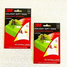"""Lot Of 2 Packs 3M Holiday Gift Tags, 4 Designs 40 Labels Per Pack, 2.75"""" x 1.75"""""""