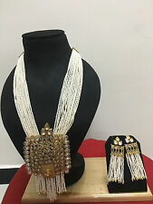 Indian Ethnic Bollywood CZ Gold Plated Pearl Kundan Fashion Jewelry Necklace Set