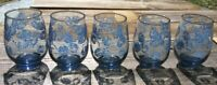 Vintage Libbey Wine/Juice Glasses -12 oz. - Blue Leaves - Set of 5 - Blue Glass