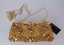 New Women's Ohh Ashley Sequin & Beaded Frame Evening Bag Gold H22060