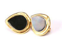 Trifari Black and Gold Tone Earrings, Vintage 1970s