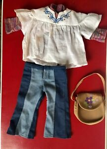 American Girl Doll Of Year Julie Meet Outfit Jeans, 2 Shirts ,And Purse
