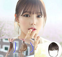 Women Lady Party Natural Clip on Bang Front Fringe only Hair extension Wigs