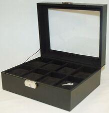 Tech Swiss BLACK Watch Holder Wooden Eight 8-Slot Interior Protective Case