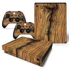 Xbox One X design pelle sventa Adesivo Pellicola Protettiva Set - vecchio legno