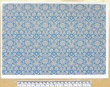 Dolls house 1/12th scale paper - A4 sheet - 'Blue damask pattern' wallpaper