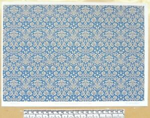 Dolls house 1/12th scale paper - A4 sheet - 'Blue damask pattern' wallpaper