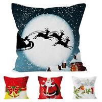 "18"" Christmas Pillow Case Xmas Cotton Sofa Throw Cushion Cover Home Decoration"