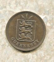 GUERNESEY - GREAT HISTORICAL RARE BRONZE 4 DOUBLES 1885 H KM# 5