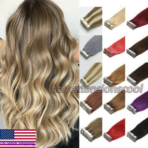 Tape-in Human Hair Extensions Invisible Skin Weft Full Head Thick Hair 60-80pcs