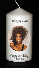 Cellini Candles Whitney Houston Birthday Own Message Personalised Gift Pop Icon