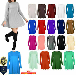Women Ladies Long Sleeve Swing Dress Flared A Line Party Skater Top Size 8-26
