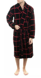 AMBASSADOR Mens Terry Robe Check Pattern Belted Size M Made in Portugal RRP £125