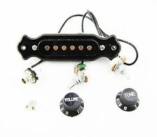 Black Acoustic Guitar Pickup Set Loaded with Jack Knobs Pots and Harness