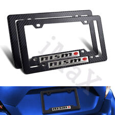 2PCS NISMO Car Trunk Emblem + Carbon Look ABS License Plate Tag Frame for Nissan