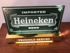 Vtg Bar Sign Light Heineken Proudly Served Lighted Table Top Sign Mancave Works!