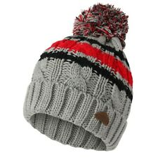 Boys Kids Knitted Striped Soft Thermal Cuffed Bobble Hat - One Size - GREY