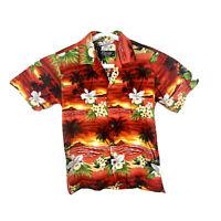 Favant Hawaiian Shirt Floral USA Mens Small Aloha Cotton Red Button Up