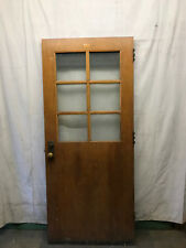 Wood Door 6 Pane of Privacy Chicken Wire Glass Architectural Salvage School