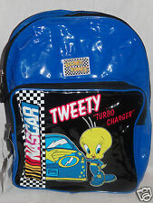 """NEW WITH TAGS LOONEY TUNES BLUE  NASCAR KIDS TWEETY BACKPACK 15 """" X 11"""" X 3"""""""