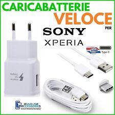 CARICABATTERIE per SONY XPERIA XZ/XA/3/2/PREMIUM/COMPACT PRESA USB + CAVO TIPO C