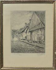 EMIL WESTMAN 1894-1935 STRASSENANSICHT IN LUND DÄNEMARK /RADIERUNG GERAHMT