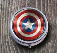 AMERICAN SUPER HERO SYMBOL PILL BOX ROUND METAL - v4f6b
