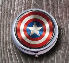 AMERICAN SUPER HERO SYMBOL PILL BOX ROUND METAL - v4f6b
