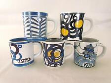 Vintage Set 5 Royal Copenhagen Fajance Annual Mugs Cups 1970 '72 '73 '74 '74 '76