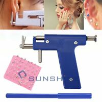 Pro Ear Body Nose Navel Piercing Gun Machine Supply Tool Kit Set + 98Pcs Studs