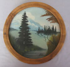 """CHARMING 1932 FOLK ART LANDSCAPE PAINTING by HELEN McCULLOCH 9½"""" Round"""