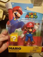 """Super Mario 4"""" Mario with Question Block Action Figure New authentic ship fast!"""