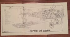 Sopwith Dolphin Cut-Away View Poster, WWI Ace Richthofen Fokker Jasta RFC Voss