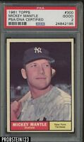 1961 Topps #300 Mickey Mantle HOF Signed AUTO Yankees PSA/DNA PSA 2