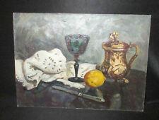 ancien tableau huile sur carton relief de repas peintre Russe XX ème